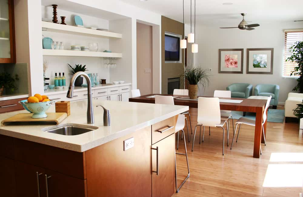 Beautiful sunny kitchen, sitting and dining room